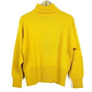 Bogner Mustard Yellow Turtleneck Knit B Sweater